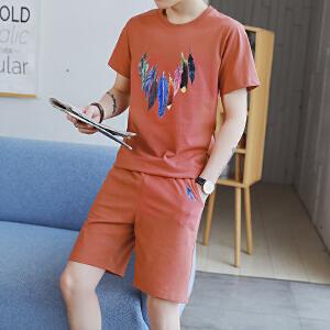 夏季T恤套装男2018韩版休闲运动套装学生短袖短裤套装潮DS79