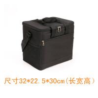 加厚外卖保温箱20L美团小号外送快餐包户外便携防水野餐冷藏冰包 黑色 20L+4个冰袋