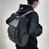 时尚潮流双肩包男士商务休闲旅行电脑背包韩版高中大学生书包 黑色