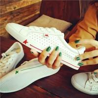 春季新款真皮拼色小白鞋女原宿风透气白色板鞋平底女鞋休闲单鞋潮