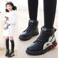 女童靴子秋冬季二棉短靴2018新款儿童加绒马丁靴雪地鞋中大童板鞋