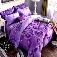�棉紫色玫瑰花四件套 1.8m床6英尺大版3D立�w全棉床��4件套