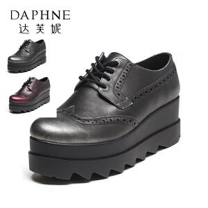 【双十一狂欢购 1件3折】Daphne/达芙妮vivi系列  时尚坡跟厚底鞋圆头深口英伦时尚女单鞋