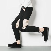 拼接加绒休闲裤男士2018冬季新款韩版修身哈伦学生潮流小脚厚裤子
