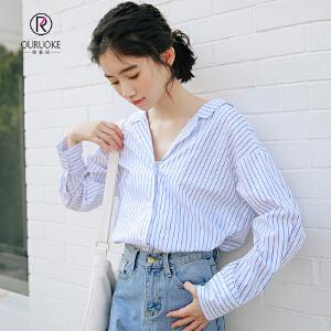 欧若珂 2018秋季新款长袖心机设计感V领条纹衬衫女性感上衣衬衣