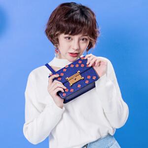 2017新款包包女花朵拼接撞色锁扣小方包韩版个性chic单肩斜挎包潮