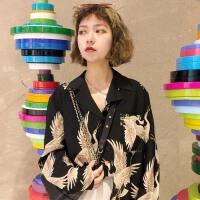 2018春装韩版chic仙鹤印花显瘦西装领薄款雪纺衬衫长袖衬衣女装潮