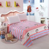学生宿舍寝室单人床单1.2米加厚双人床单1.8/2m条纹被单裸婚时代