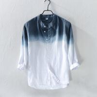 新渐变时尚七分中袖亚麻衬衫男士休闲立领青年宽松薄款棉麻衬衣