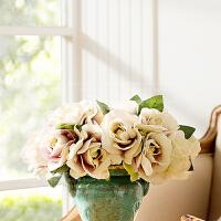 奇居良品 欧式高仿真花艺绢花假花 浅紫色7头手札压纹玫瑰花