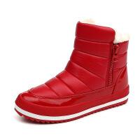 女大童冬季厚底雪地靴加绒保暖防水棉靴少女孩棉鞋初中学生短靴子真皮