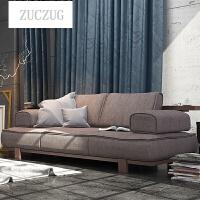 ZUCZUG实木沙发橡木北欧日式木质三人木头原木制布艺客厅家具 颜色备注 三人