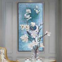 简欧手绘美式餐厅油画简约花卉玄关现代装饰画卧室壁画挂画白玉兰 花卉 100*150 单幅
