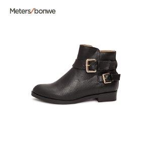 【2件2.5折到手价:21.25】美特斯邦威女鞋新款时装鞋PU革中筒时尚短靴96商场同款S