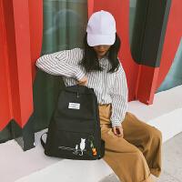 双肩包女2018韩版潮校园学生旅行包大容量纯色情侣书包男电脑背包