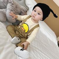 婴儿套装男春秋新生儿卡通可爱纯棉大嘴鸭背带裤两件薄款衣服