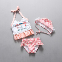 韩国儿童泳衣女童游泳衣小童比基尼分体裙式泳装女孩公主宝宝带帽 三个小孩女童粉色套装