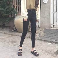 紧身裤弹力修身显瘦百搭高腰牛仔女春季新款韩版明线小脚裤长裤