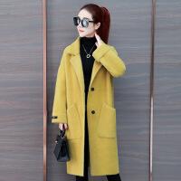 仿 绒外套女装2018新款秋冬季韩版中长款宽松深秋加厚毛衣风衣 黄色 均码
