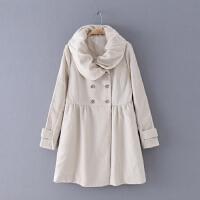 3 女装 冬季新款百搭纯色双排扣修身长袖女式外套毛呢大衣