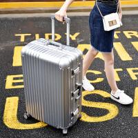 拉杆箱万向轮24寸铝框皮箱旅行箱女行李箱26寸包硬箱复古登机箱20 银色 铝框箱豪华款 20寸