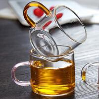 lanpiind郎品带把彩柄耐热玻璃杯功夫茶具品茗杯茶杯小杯子茶盘使用杯100ml茶杯