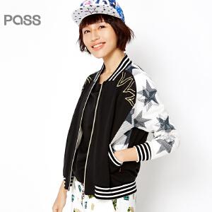 PASS女装春装新款 潮牌纱网拼接棒球服短款拉链外套6611411019