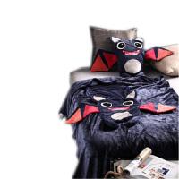 卡通小怪兽抱枕毯汽车办公室靠垫被靠枕腰靠抱枕被子两用午休毯子 深蓝色 蝙蝠-藏青 抱枕毯子(1.1x1.6米)