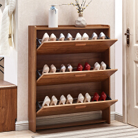 超薄鞋柜 简约小户型门厅柜 实木色大容量中式玄关客厅翻斗进门鞋