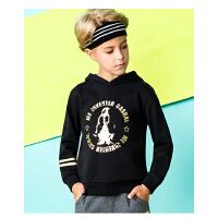 【159元2件】暇步士男童卫衣新款秋装中大童时尚连帽套头儿童印花卫衣