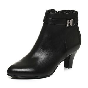 Belle/百丽冬季专柜同款黑油皮牛皮革女皮靴(绒里)3EKA9DD6