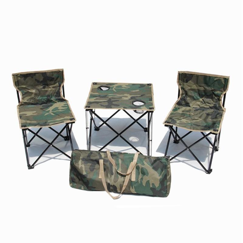 户外折叠椅自驾游便携休闲椅子 野营桌椅迷彩中号三件套