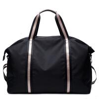 男士手提旅行包大容量行李包长短途防水轻便单肩包斜挎女包潮 黑色(黑配米色织带)--拍下后3月日发货 大