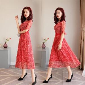 雪纺连衣裙女2018新款冷淡风淑女气质红色长裙超仙小个子碎花裙