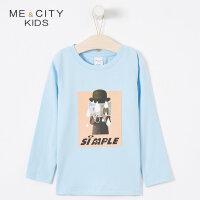 【满1000减750】米喜迪mecity童装2019春新款男童趣味印花针织长袖t恤