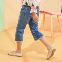 【1件5折价:84.5】moomoo童装女童中短裤夏季新款洋气休闲女中童时尚牛仔七分裤