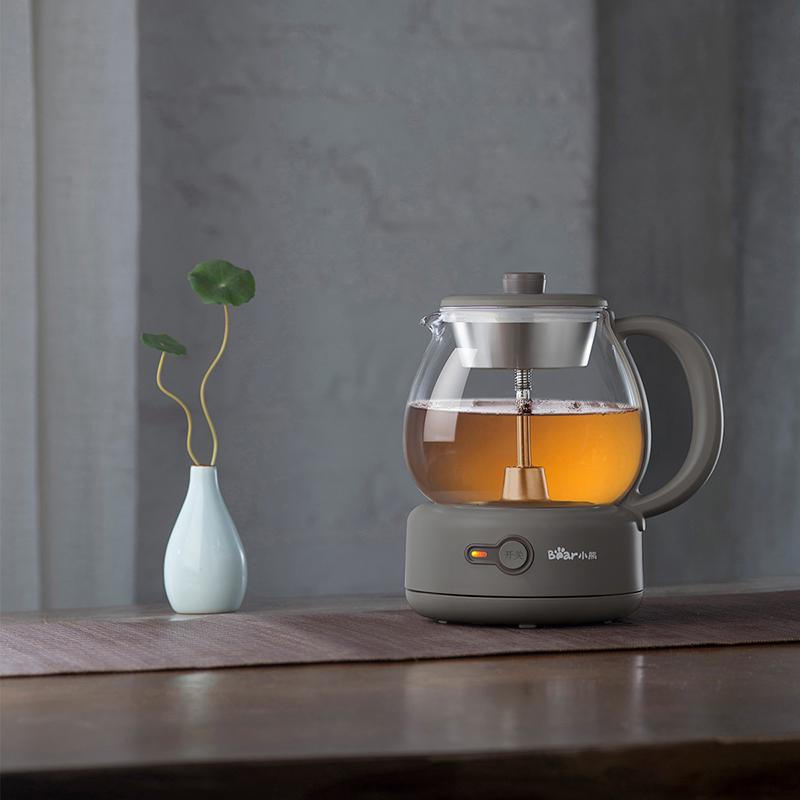 小熊(Bear) 煮茶器养生壶玻璃加厚黑茶煮茶壶多功能1L电热水壶 杏色 ZCQ-A10Q1304喷淋式不锈钢滤网 防干烧