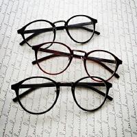 文艺复古金属圆形森女平光镜 小圆框架平光眼镜细架超大边框