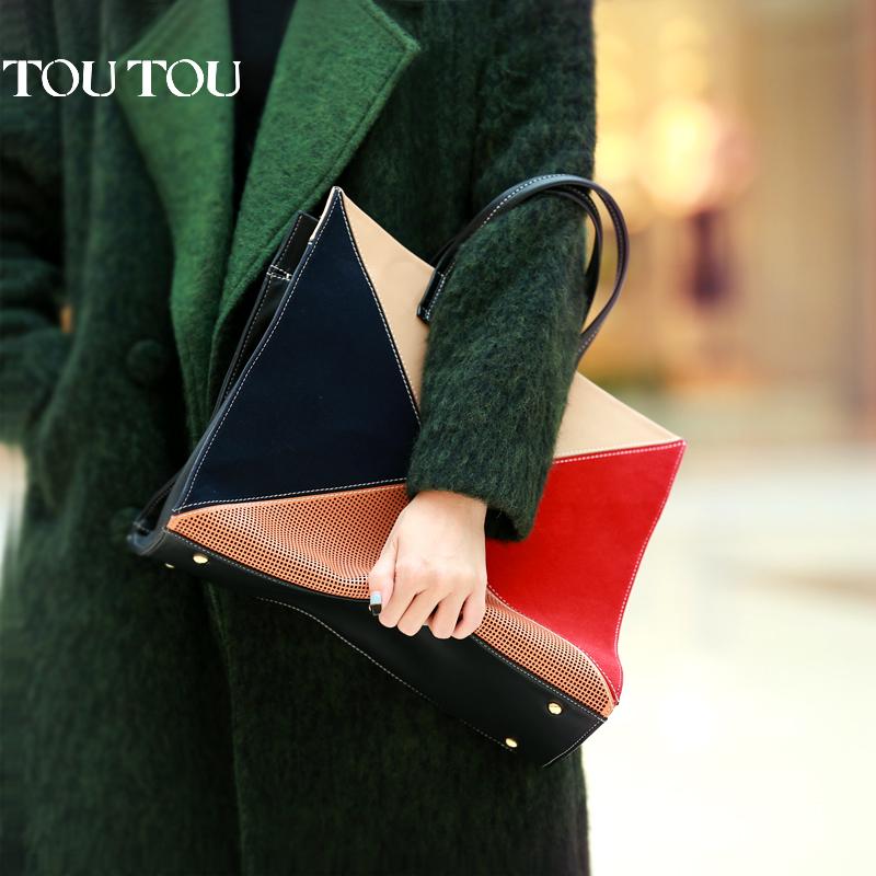 toutou2017新款韩版女包拼接撞色大容量手提包单肩OL通勤大包包潮