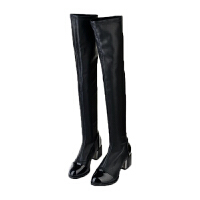 粗跟长筒靴子女冬女士百搭黑色性感弹力高筒过膝靴高跟长靴女软底 黑 单内里