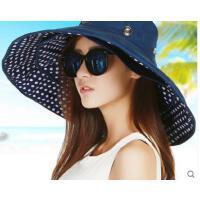 新款韩版大沿户外遮阳帽女防晒帽可折叠沙滩帽子女士太阳帽