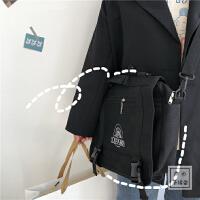 日系原宿风ins古着感书包女 帆布包斜挎包学生包包两用暗黑风设计