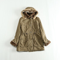 秋冬女中长款工装 连帽兔毛领日系军旅系带羊羔绒棉衣外套C
