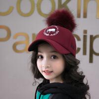 宝宝帽子儿童时尚鸭舌帽小孩大毛球遮阳帽男女童公主帽韩版棒球帽 均码