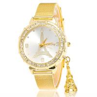 韩版时尚潮流高档水钻铁塔手表 金网带石英女士手表