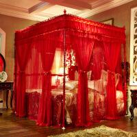 欧式双层红色蚊帐公主宫廷三开门落地式结婚婚庆双人1.5米1.8m 夜魅 红色