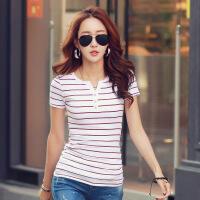 夏季新款开衫小V领三排水钻纽扣条纹短袖棉t恤女士打底衫