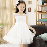 女童连衣裙夏装2018新款中大童装韩版儿童夏季洋气白色公主纱裙子