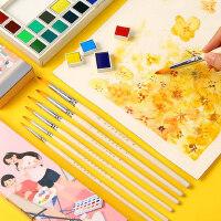 尼龙毛颜料笔学生用水彩画笔套装水粉画笔尖头丙烯描边笔套装美术勾线笔可水洗水彩毛笔儿童绘画成人手绘画笔