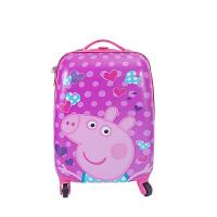 儿童拉杆箱女可爱公主小猪佩奇小孩男万向轮登机箱卡通行李箱18寸 紫罗兰 小猪佩奇 紫 18寸